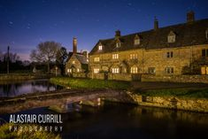 Lower Slaughter during a clear night sky creating these stunning star trails