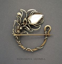 NACRE Brooch Fibula, Brass, Natural Mother Of Pearl, Patina, Forging. By  KL WireDream On DeviantArt