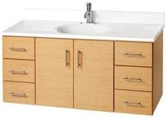 Jenson Vanity in Light Beech - ours is a 6' double sink with 4 drawers in the middle