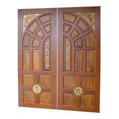 Solid Diyar Wood Double Door With Solid Sides Frame - Main Doors - Al Habib Panel Doors Double Door Design, Main Door Design, Front Door Design, House Window Design, Beautiful Front Doors, Double Entry Doors, Kerala House Design, Modern Home Interior Design, Entrance Doors
