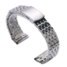 18/20/22MM Fashion Silve Wrist Watch Band fold over clasp with push button Watches Strap Bracelet GD0301 #Affiliate