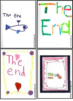 "Children practice the high-frequency words ""the end"" in an authentic context on the backs of their ""real cool"" books. Once they have written their books, they fancy up their end pages, each unique. Read this blog for concise and powerful publishing strategies. http://nellieedge.com/blog/from-folded-books-to-kindergarten-publishing/."