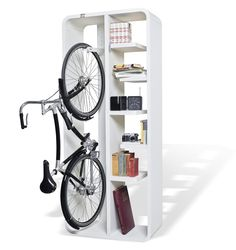 Mount your bike on this stylish bike storage stand - a perfect space saving bike storage idea for garages or apartments.