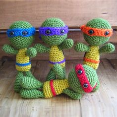 Teenage Mutant Ninja Turtles Crochet... Free pattern ༺✿ƬⱤღ https://www.pinterest.com/teretegui/✿༻
