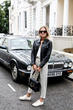 striped pants + leather jacket @dcbarroso