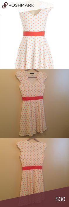 Mod cloth o'-sher dress! Size medium Tangerine polka dots on a white background! Fun and flirty dress only worn once! ModCloth Dresses Midi