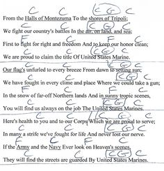 Marine Corp Hymn (Halls of Montezuma) Guitar Chord Chart with Lyrics - http://www.youtube.com/munsonmusiclive