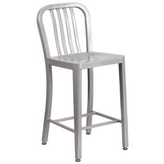 high silver metal counter height stool with vertical slat back