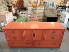 FAUX BAMBOO Credenza Lacquered in Coral for the Master :)