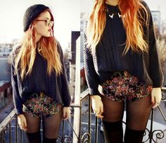 Sweater, floral shorts, nylons with thigh high socks