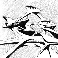 Architectural sketches ideas on Behance Zaha Hadid Architecture, Conceptual Architecture, Architecture Building Design, Architecture Board, Architecture Visualization, Futuristic Architecture, Amazing Architecture, Zaha Hadid Design, Abstract Geometric Art