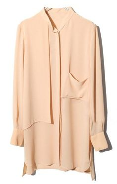 Nude Long Sleeve Pockets Buttons Chiffon Blouse