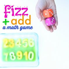 "Our Fizz and Add Math Game for Kids is a unique way to practice addition! Roll the dice and then ""fizz"" the sum! It is sure to delight learners of all ages!"