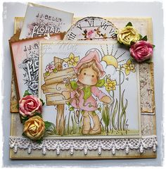 My latest Tilda creation, masking 3 stamps together to create this sweet scene. More info at http://wwwsuzies.blogspot.co.uk #cards #crafts #Magnolia