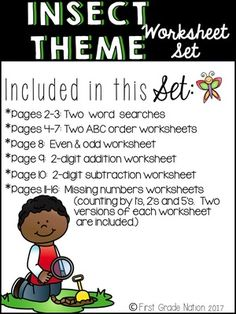 Worksheet Set (insect theme) from FirstGradeNation on TeachersNotebook.com (17 pages)