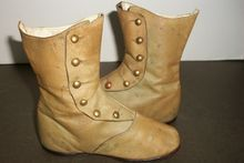 Pair of Antique Children's / Large Doll High Button Leather Boots