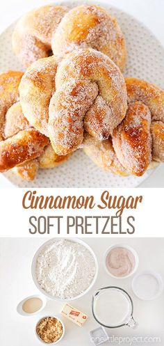 These cinnamon sugar soft pretzels are simple and quick to make, and so delicious! Perfect for game day, snacks, or any time you need a sweet treat! Mini Desserts, Easy Desserts, Delicious Desserts, Dessert Recipes, Chocolate Desserts, Recipes Dinner, Chocolate Tarts, Baking Desserts, Cake Baking