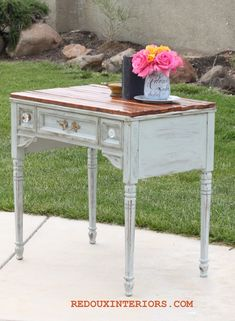 Old Sewing Table gets Makeover with Found Planks and CeCe Caldwell's Vintage White and Seattle Mist.   REDOUXINTERIORS.COM FACEBOOK: REDOUX #cececaldwellsvintagewhite #cececaldwellsseattlemist #junkmakeover #redouxinteriorsmakeover