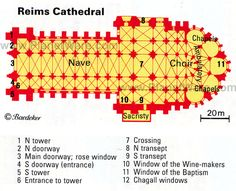 Reims Cathedral - Floor plan map