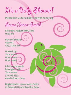 Another Hawaiian turtle baby shower invitation