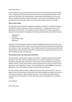 Letter to Parents explaining Forest School (Outdoor Learning)