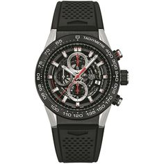 Tag Heuer Carrera Calibre Heuer 01 Skeleton Watch (307.275 RUB) ❤ liked on Polyvore featuring jewelry, watches, skeleton jewelry, skeleton wristwatch, tag heuer watches, tag heuer and skeleton wrist watch