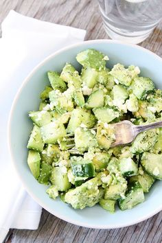 Cucumber, Avocado, and Feta Salad Recipe on twopeasandtheirpo.... This fresh and simple salad is perfect for summer and it only takes 5 mins