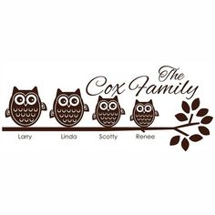 4 Owl Family on Branch Vinyl Wall Decal by OnDisplayGraphix, $27.00
