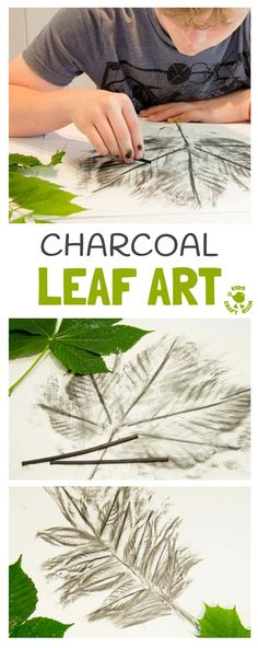 CHARCOAL LEAF ART- Charcoal is a super medium for kids to explore the shape, texture and patterns of leaves. An interesting leaf craft to try all year round. This leaf activity makes a great Fall art idea and nature craft for all year round.