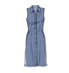 M6696 Dresses have collar, collar band, self-lined yoke back, close-fitting bodice, and band. A: carriers, purchased belt. #mccallspatterns #shirtdress