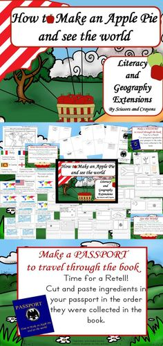 How to make an Apple Pie and see the world Literacy and geography extensions to the story.  Make a passport to retell and simple research projects for 1st and 2nd grade.  also included is bonus resources #howtomakeanapplepieandseetheworld