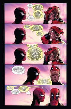 Spider-Man And Deadpool Hugging Spiderman Deadpool Comic, Deadpool Funny, Marvel Funny, Marvel Memes, Marvel Dc Comics, Funny Comics, Marvel Avengers, Deadpool Quotes, Deadpool Comics