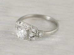 Only at Erstwhile would they have this beauty. A Carat Vintage Art Deco Engagement Ring. Only at Erstwhile would they have this beauty. A Carat Vintage Art Deco Engagement Ring. Art Deco Diamond Rings, Art Deco Ring, Art Deco Jewelry, Jewellery Box, Jewellery Shops, Diy Jewelry, Platinum Engagement Rings, Deco Engagement Ring, Antique Engagement Rings