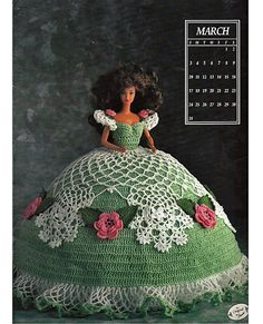 Miss March1991 Annies Calendar Bed Doll Society  Fashion Doll  Crochet Pattern  Annies Attic 7403.