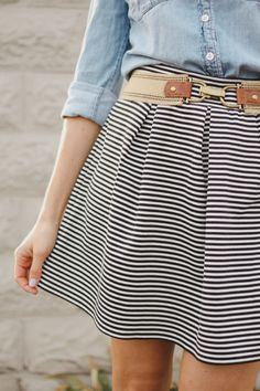 Striped skirt + Chambray