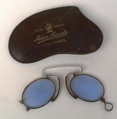 0bcab3c1f73 ANTIQUE PINCE NEZ French Glasses Spectacles Silver   Iron Blue Tinted Lens  Eyewear Eyepiece circa 19th Century Original Leather Case