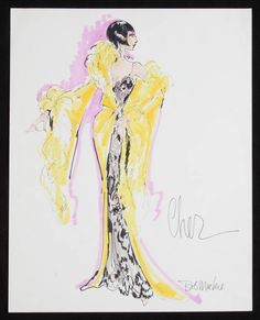 """Felt pen on paper, sketch of a proposed costume for Cher, signed """"Bob Mackie"""".  Sold by auction."""