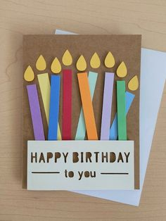 Happy Birthday Cards Handmade, Creative Birthday Cards, Simple Birthday Cards, Homemade Birthday Cards, Homemade Greeting Cards, Birthday Cards For Boyfriend, Easy Handmade Cards, Greeting Cards Handmade, Happy Birthday Crafts