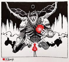 Shriveled Heart by ashpwright on DeviantArt Robot Concept Art, Creature Concept Art, Creature Design, Illustrations, Illustration Art, Ange Demon, Knight Art, Dnd Art, Monster Art