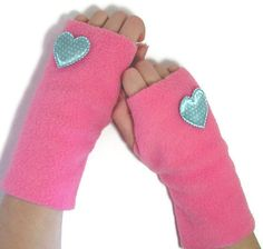 Fleece Fingerless Mittens Gloves - idea crafts for girls