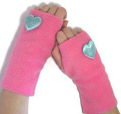 Fleece Fingerless Mittens Gloves - idea crafts for girls