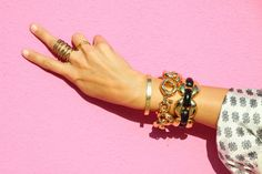 J.Crew + Kelly Wearstler + Gorjana + Vintage + Cartier #armcandy #jewelry #bracelets