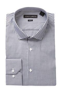 Long Sleeve Slim Fit Check Dress Shirt