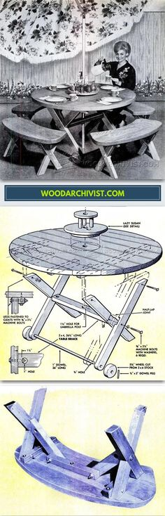 Round Picnic Table Plans - Outdoor Furniture Plans and Projects - Woodwork, Woodworking, Woodworking Plans, Woodworking Projects Outdoor Furniture Plans, Backyard Furniture, Furniture Projects, Round Picnic Table, Picnic Table Plans, Diy Projects For Men, Wood Projects For Kids, Easy Woodworking Ideas, Woodworking Plans