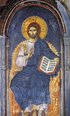 Icon of Christ Enthroned (Panselinos, – Byzantine Icons, Byzantine Art, Life Of Christ, Jesus Christ, Fresco, Tempera, Christian Artwork, Mural Painting, Paintings