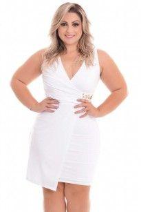 Vestido Plus Size Amelie White Blue