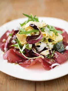delicate egg ribbons with bresaola, crispy fennel & spring leaves | Jamie Oliver | Food | Jamie Oliver (UK)