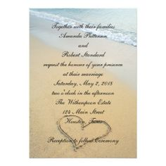 Heart on the Shore Beach Wedding Invitation. If you want the best officiant for your Outer Banks, NC, ceremony, contact Rev. Barbara Mulford: myobxofficiant.com/