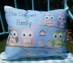 This handmade personalized owl family pillow would make the perfect gift for a special family. #OwlPillow #OwlDecor #Gifts