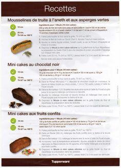 je vous met la fiche correspondant au moule mini cake tupperware, il y en a plusieurs. j'ai fait ceux au chocolat,sauf,qu'ils ont ete manges rapidement !!!